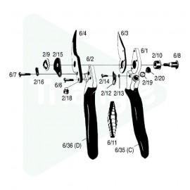 Plastique pour poignée contre-lame pour Felco 6 et 12