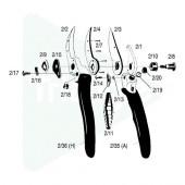 Contre-lame + 4 rivets 2/7 pour Felco 2